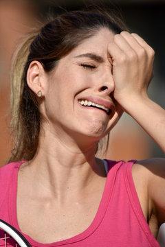 Tearful Athlete Female Tennis Player Wearing Sportswear