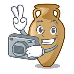 Photographer amphora mascot cartoon style