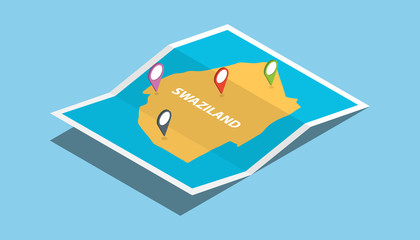 swaziland africa explore maps with isometric style and pin location tag on top