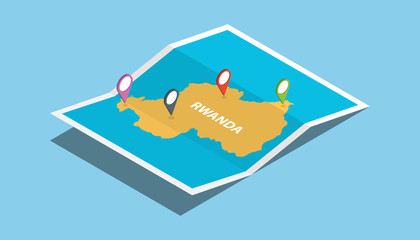 rwanda africa explore maps with isometric style and pin location tag on top