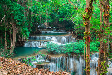 Wall Mural - Cool waterfall at Kanchanaburi, Thailand