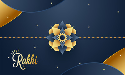 Paper cut style floral rakhi with golden text Happy Rakhi on shiny abstract background.
