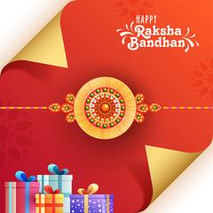 Raksha Bandhan festival celebration concept with illustration of rakhi and gift boxes.