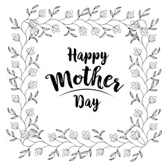 Bright vector illustration with flowers. Happy Mothers Day greeting card