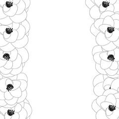 Camellia Flower Outline Border