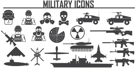 Collection of flat  icons - army and military theme