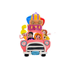 Family trip by retro car 3D illustration isolated on white background