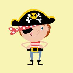 happy cute kids pirate seaman robber sailor burglar buccaneer cartoon character