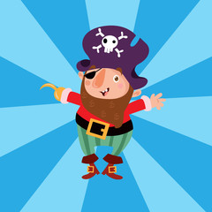 happy cute bearded pirate seaman robber sailor burglar buccaneer cartoon character