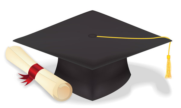 student graduation hat with diploma  vecter eps10
