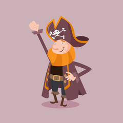 happy cute bearded pirate seaman robber sailor burglar buccaneer cartoon character