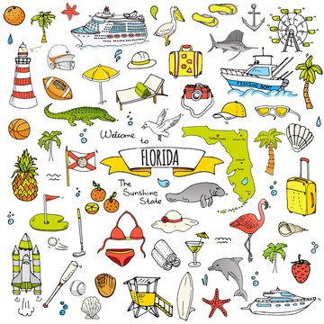 Hand drawn doodle Florida icons set. Vector illustration, isolated symbols collection of USA state, Cartoon elements Alligator Manatee Yacht Cruise sheep Fishing boat Golf American football Palm trees