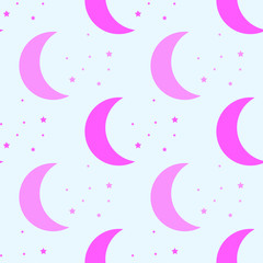 seamless pattern. children's pattern. night pattern. moon and star