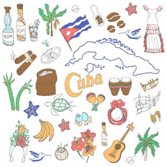 Set of hand drawn Cuba icons, Cuban sketch illustration, doodle elements, Isolated national elements made in vector. Travel to Cuba concept for cards and web pages Caribbean cartoon objects collection