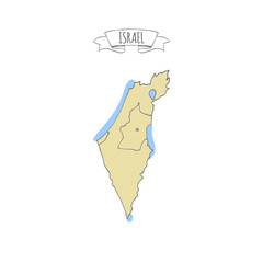 Hand drawn vector illustrated map of Israel Jewish sketch illustration, doodle element Isolated national map made in vector Sand colors Geographical map showing desert and planted areas. Doodle ribbon