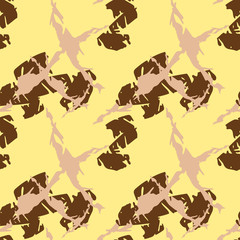 Military camouflage seamless pattern in yellow, beige and brown colors