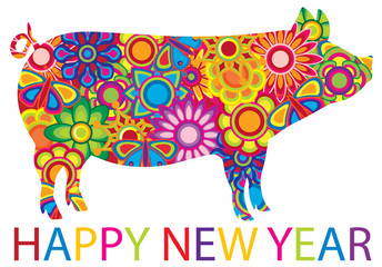 Chinese New Year Colorful floral Pig vector Illustration
