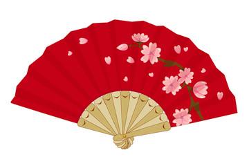 Japanese Folding Vintage Fan with Sakura