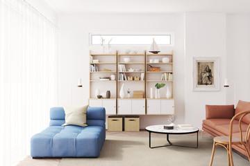 Blick auf ein Regal in einem modernen Wohnzimmer