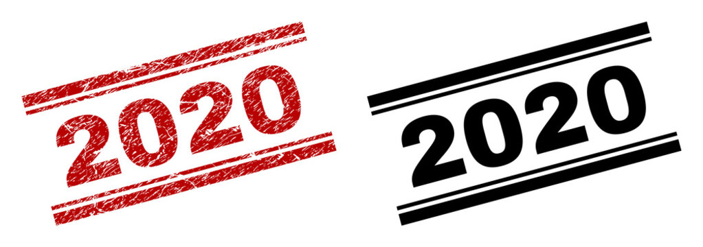 2020 stamp seal print with red grunge and clean black version. Red vector rubber print of 2020 title with grunge effect. Titles are placed between double parallel lines.