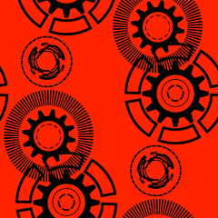 Abstract geometric gear, cogwheel, circles, lines, rays, dotted lines. Seamless pattern.