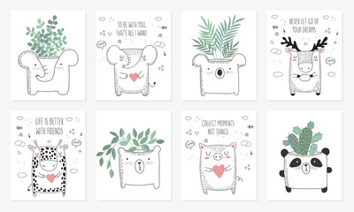 Vector set of postcards with animals and slogan about friend. Doodle illustration