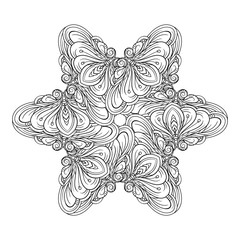 Vector abstract black and white ethnic star shape mandala motif