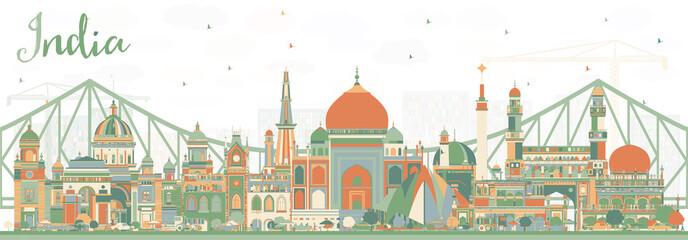 India City Skyline with Color Buildings. Papier Peint