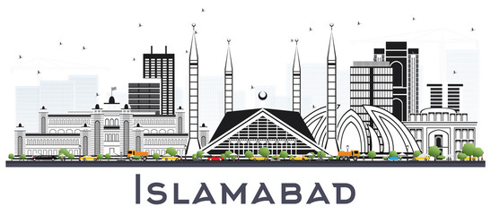 Islamabad Pakistan City Skyline with Gray Buildings Isolated on White.