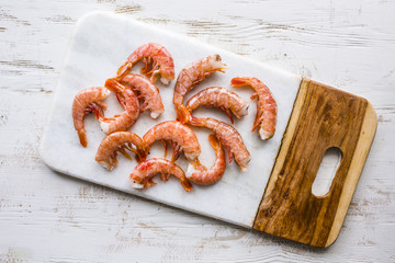 Giant prawns prepared for cooking.