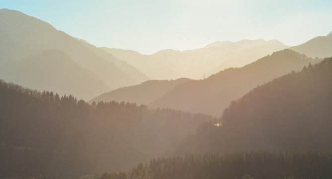 Misty layers of mountains in early morning