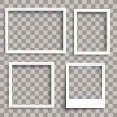 3 Weiße Fotorahmen mit einem Sofortbild auf einem transparenten Hintergrund