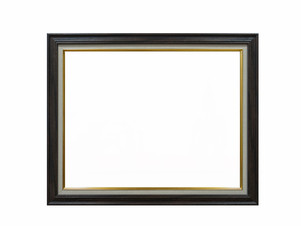 wood empty picture frame Isolated on white background