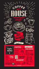 Coffee restaurant menu. Vector drink flyer for bar and cafe. Red template with vintage hand-drawn food illustrations.