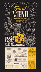 Food menu for restaurant. Vector food flyer for bar and cafe on blackboard Design template with vintage doodle hand-drawn illustrations.