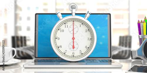 stopwatch timer on computer laptop blur office business