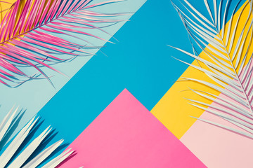 Tropical bright colorful background with exotic painted tropical palm leaves. Minimal fashion summer concept. Flat lay. Fotomurales