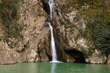 beautiful waterfall in national park sochi