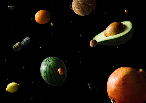 Space or planets universe cosmic abstract background. Abstract fruit background. Creative space. Summer food concept.