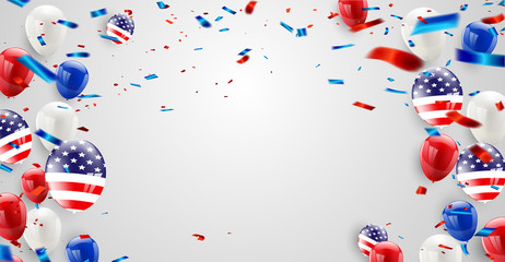 Labor day card design American flag balloons with confetti background. Sale Vector illustration.