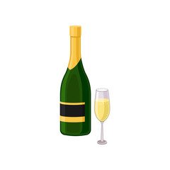 Flat vector icon of glass and bottle of champagne. Holiday beverage. Alcoholic drink. Element for promo banner or poster of liquor store