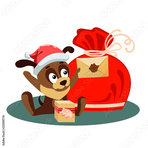 christmas card with a dog holding an envelope from santa claus and