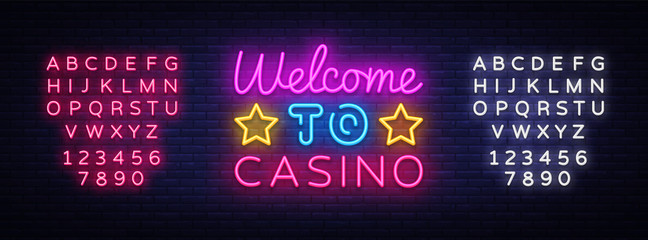 Welcome to Casino sign vector design template. Casino neon logo, light banner design element colorful modern design trend, night bright advertising, bright sign. Vector. Editing text neon sign