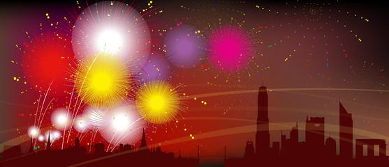 Bangkok City Silhouette, Celebration, Fireworks