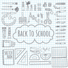 Doodle drawing back to school template with school supplies on graph paper background,Template for school illustration, vector. Draw doodle cartoon style.