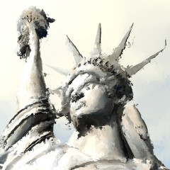 Digital Painting of the Statue of Liberty