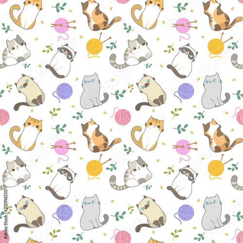 Vector Illustration Cats Seamless Pattern Different Type
