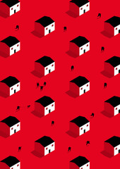 People walking around red isometric houses