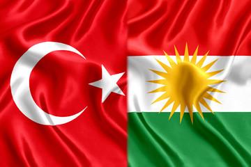 Flag of Kurds and Turkey silk