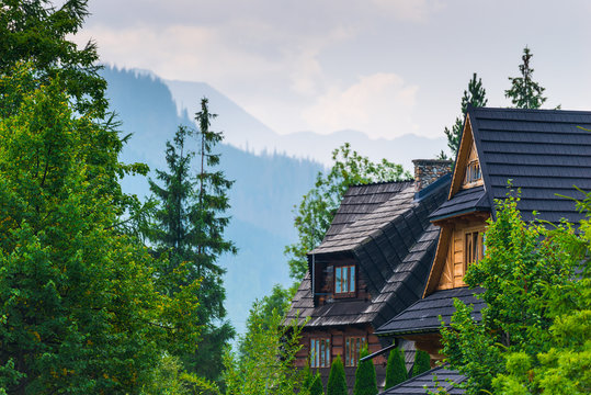 roof of a villa in the forest with a view of the high mountains